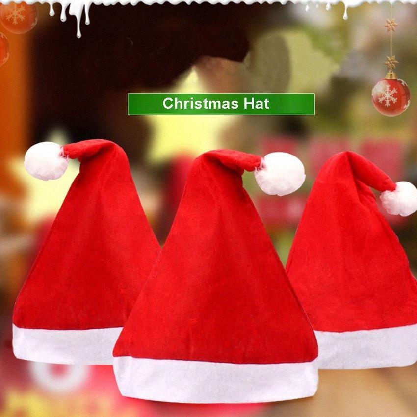 Tappi di Natale Babbo Natale cappelli rossi per adulti e bambini di Natale della decorazione del partito Cappelli DHF665 f4p1 #