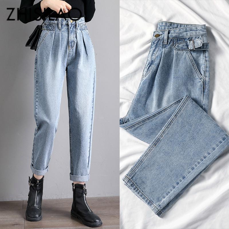 Gerade Harem Jeans Frauen-Weinlese Mom High Waist Jeans plus Größe Retro Boyfriend Jeans Straße Blau Schwarz 2020 Jeanshosen LJ200818