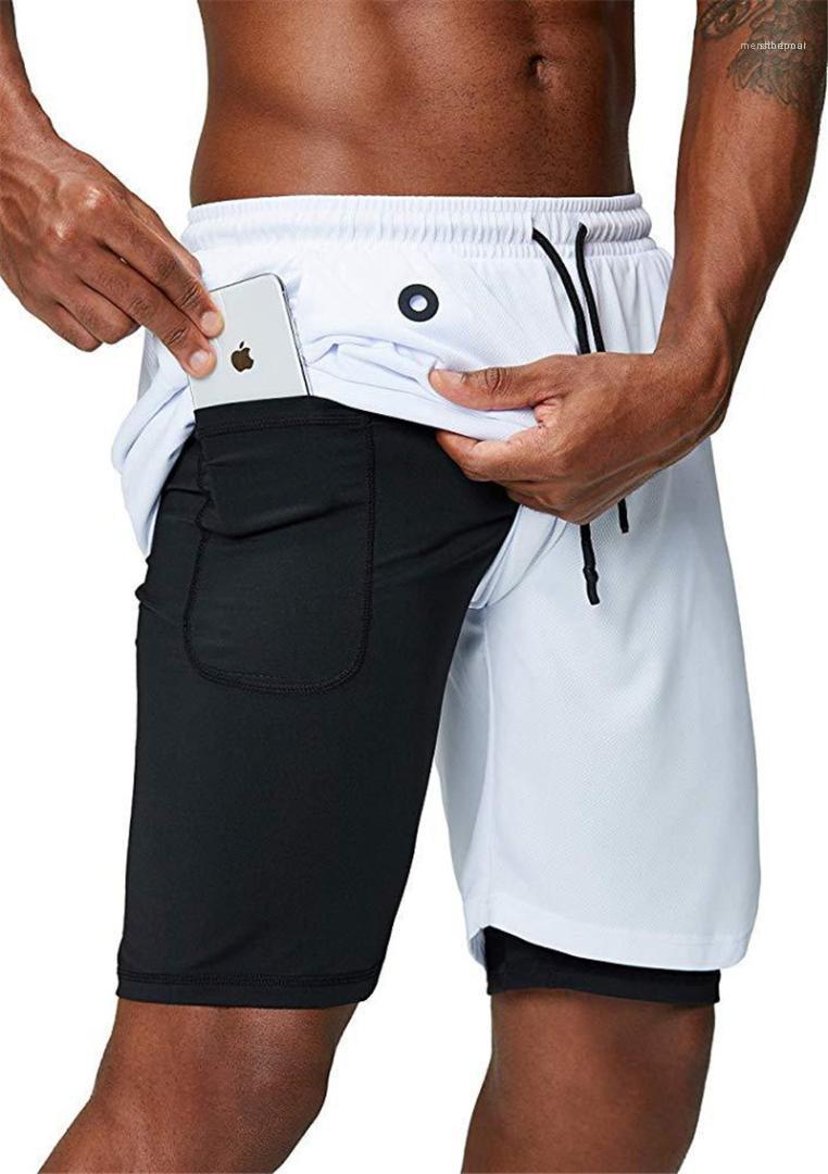 Fitness Shorts Mens solido di colore traspirante Stretch Mens brevi pantaloni casual Correre Maschile Shorts rapida asciugatura