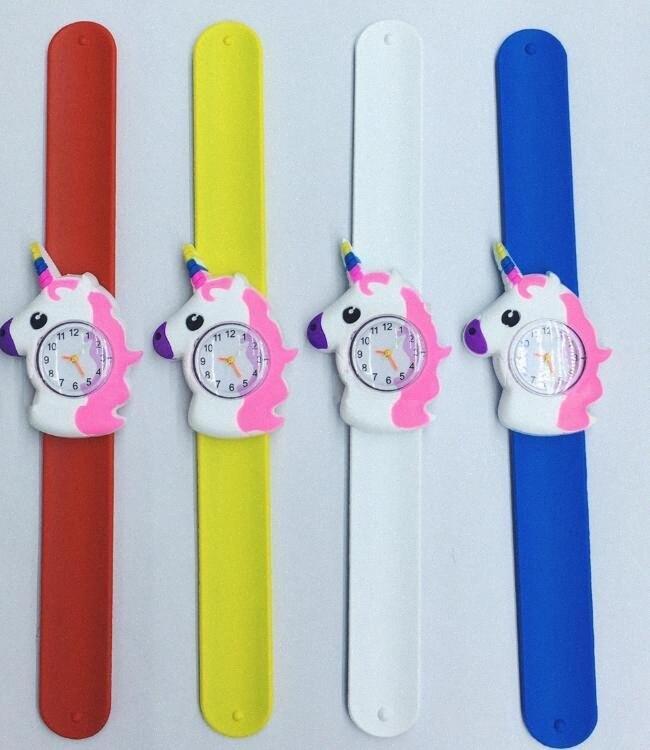 Historieta de los niños del unicornio del reloj 3D del unicornio del reloj del cuarzo de silicona banda reloj de la palmada niños de cumpleaños regalo de relojes GGA3414-5 1xZx #