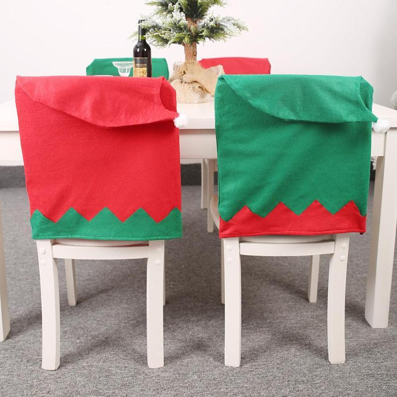 Christmas Hat Chair Back Cover Creative Chair Seat Cover Dinner Dining Christmas Decor Table New Year Supplies 2020