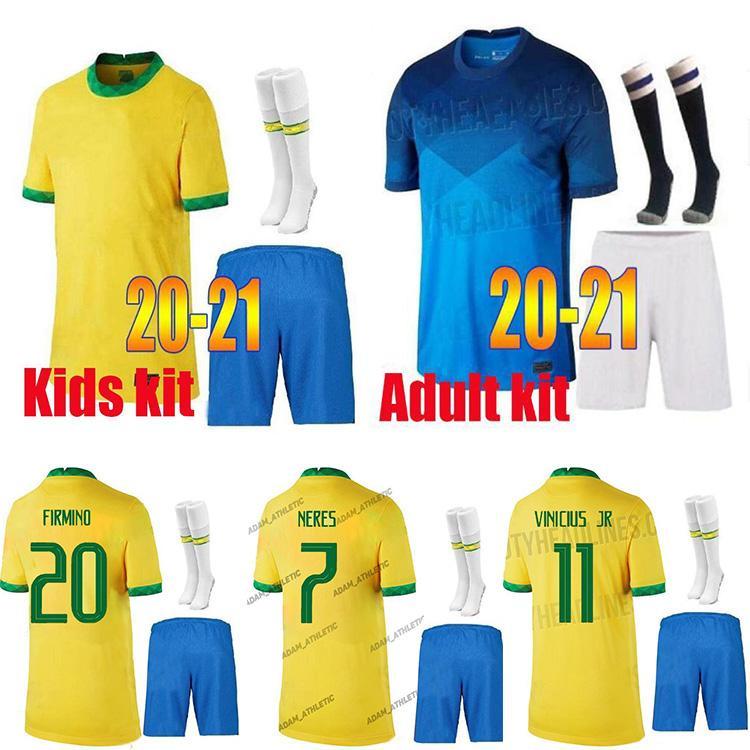 2021 brazil soccer jersey neres camiseta de futbol brasil 20 21 g.jesus coutinho copa america football jersey shirts men kids kits+socks