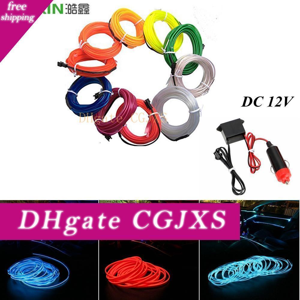 Haoxin Car Lights 10 Color Sewing Edge Neon Light Car Decor Lighting Flexible El Wire Rope Tube Led Strip Car Cigarette Lighter Socket Plug