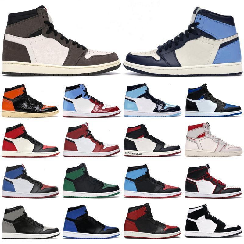 2020 Mens basketball shoes 1s high og Obsidian Phantom Pine Turbo Green Travis Scotts Royal Toe Twist 1 jumpman men women sports sneaker