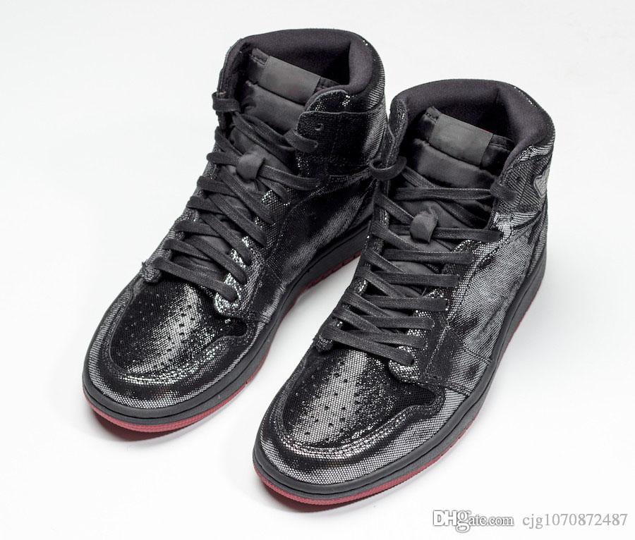 2019 En Yeni Hava Otantik 1 Yüksek OG SP Gina Siyah Beyaz Varsity Kırmızı Erkekler Basketbol Ayakkabı En Mans Retro Spor Sneakers CD7071-001 ile Kutusu