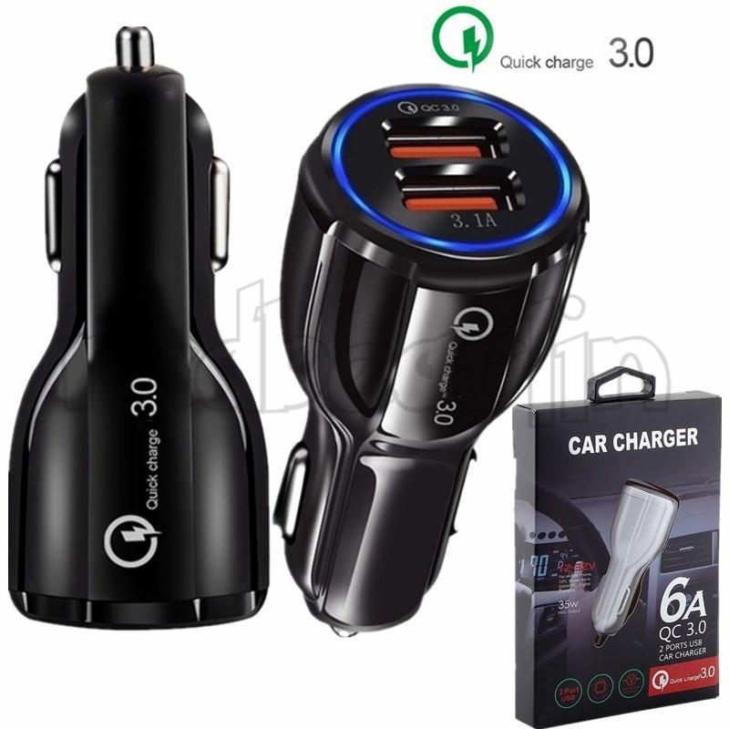 samsung s8 notu 8 gps tablet için QC 3.0 Hızlı Araç şarj cihazı Çift USB bağlantı noktaları 6A Güç adaptörü hızlı adaptif araç şarj