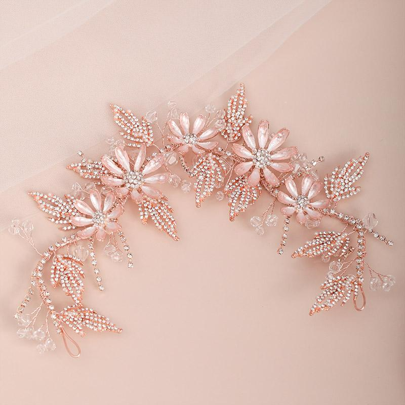 Luxus-Rose Gold Farbe große Blumen-Blatt-Dekor-Haar-Band-Stirnband für Frauen-Mädchen-Braut Noiva Hochzeit Haarschmuck