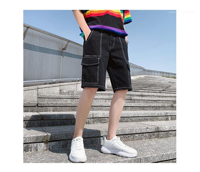 Длина колена Карго Короткие Мужчины Свободный Straight Свободный Colothes Mens черный Карманный Демин шорты Man Summer High Street