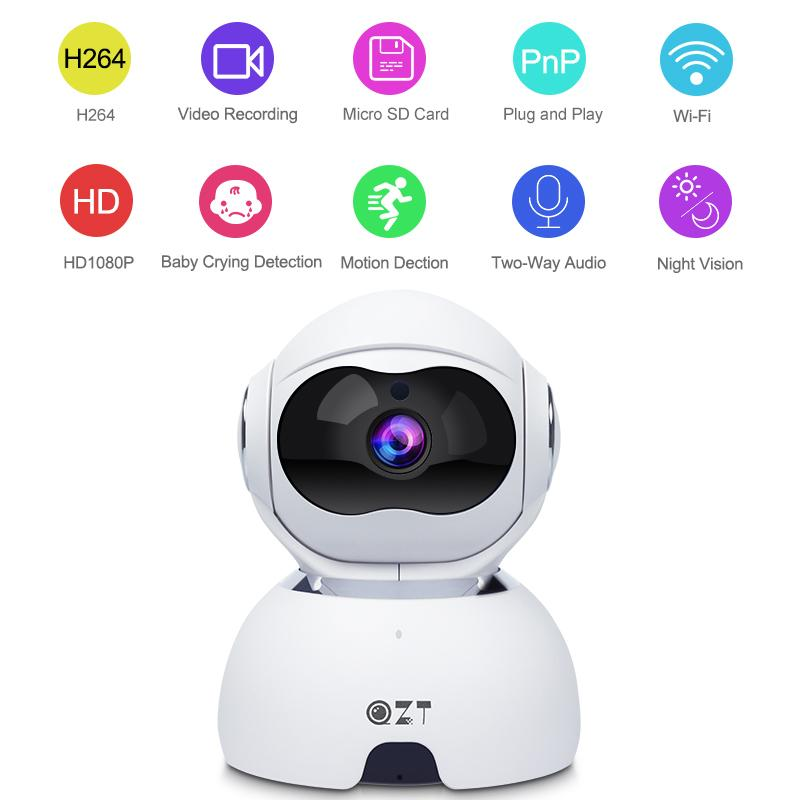 QZT 1080P Главная безопасности камеры наблюдения ночного видения IP-камера Wi-Fi Wireless Mini Baby Monitor Крытый Home собак Pet HD