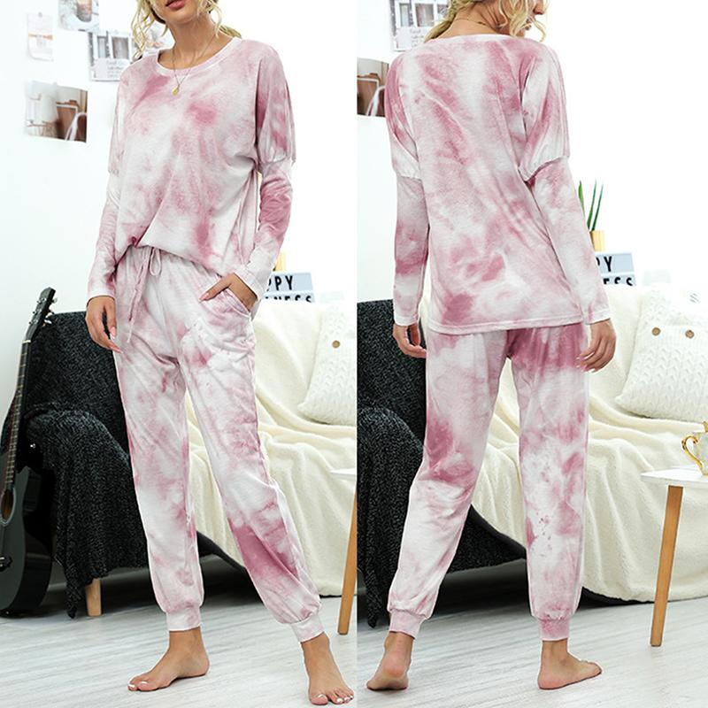 Womens Tie Dye Set Tuta dal O-Collo T-shirt 2 pezzi pantalone allentato Lady Pajamas Outfits Lounge Wear Homewear