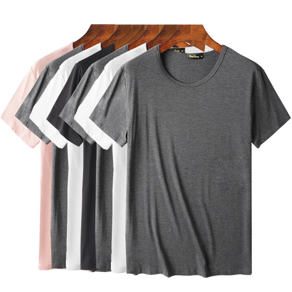 Komfortable 95% Bambusfaser T-Shirt Men Kurzarm kühles Hemd für Herren Basic Spitzen T Blank Weiß, Schwarz, Grau T-Shirt Homme 200924