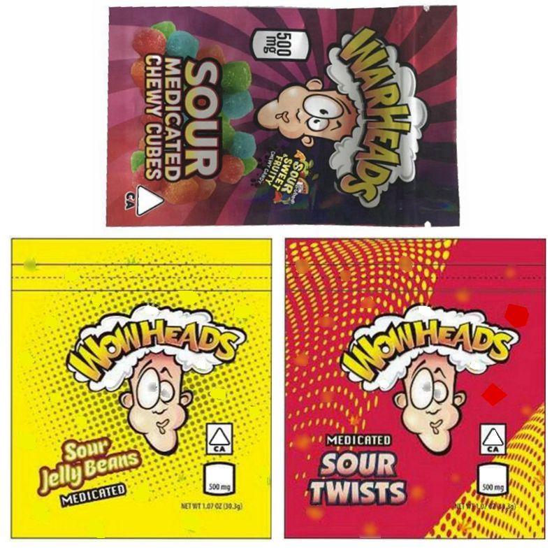 Borse da testa a testa dorsale all'ingrosso 500mg Todist aspro Jelly Beans Chewy Cubes Edibles Packaging Bag 3 tipi Candy odore a prova di protezione con cerniera richiudibile Pacchetti mylar