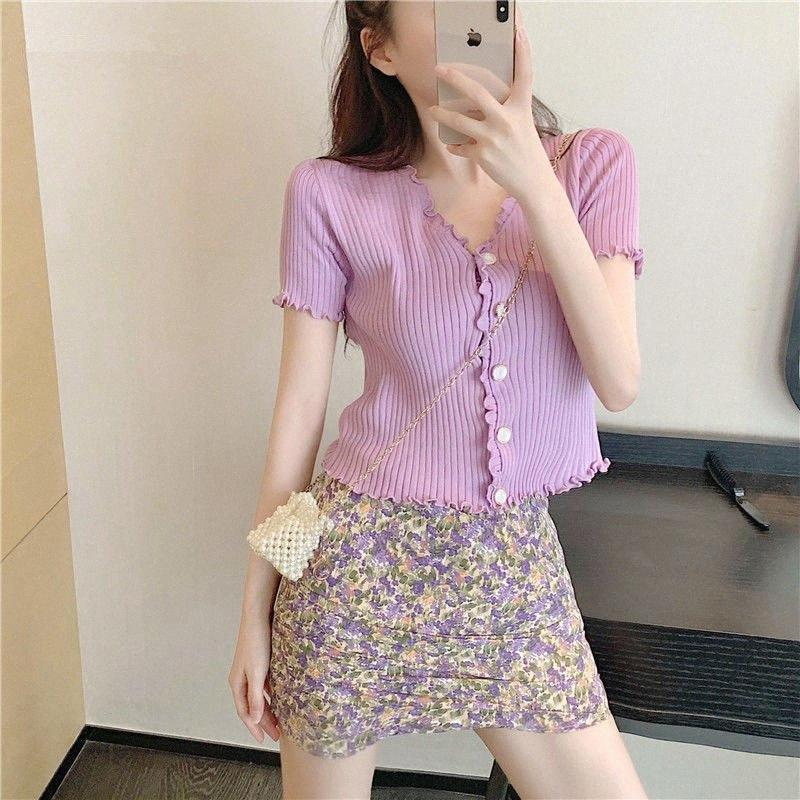 Bella Philsophy Wonder Purple Two Pieces Vintage Female Single Breasted Knitted Shirts +Print Floral Mini Skirts Sets Lady Suits APsY#