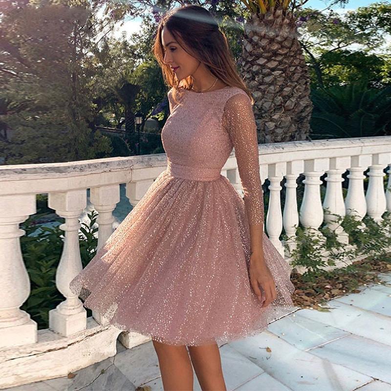 Yeni Gelenler Bling Parlak Uzun Kollu Mezuniyet Mezuniyet Elbiseleri A-line Kokteyl Elbise Backless Parti Kıyafeti Vestidos De Fiesta