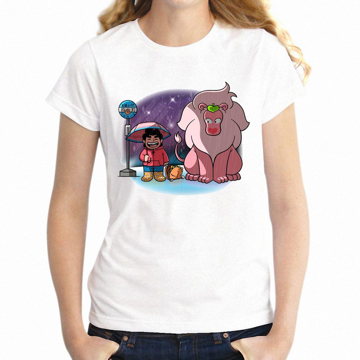 Frauen-T-Shirt Mein Nachbar Totoro Steven Universe Lion Lustige Ehrfürchtig des Mädchens Tee