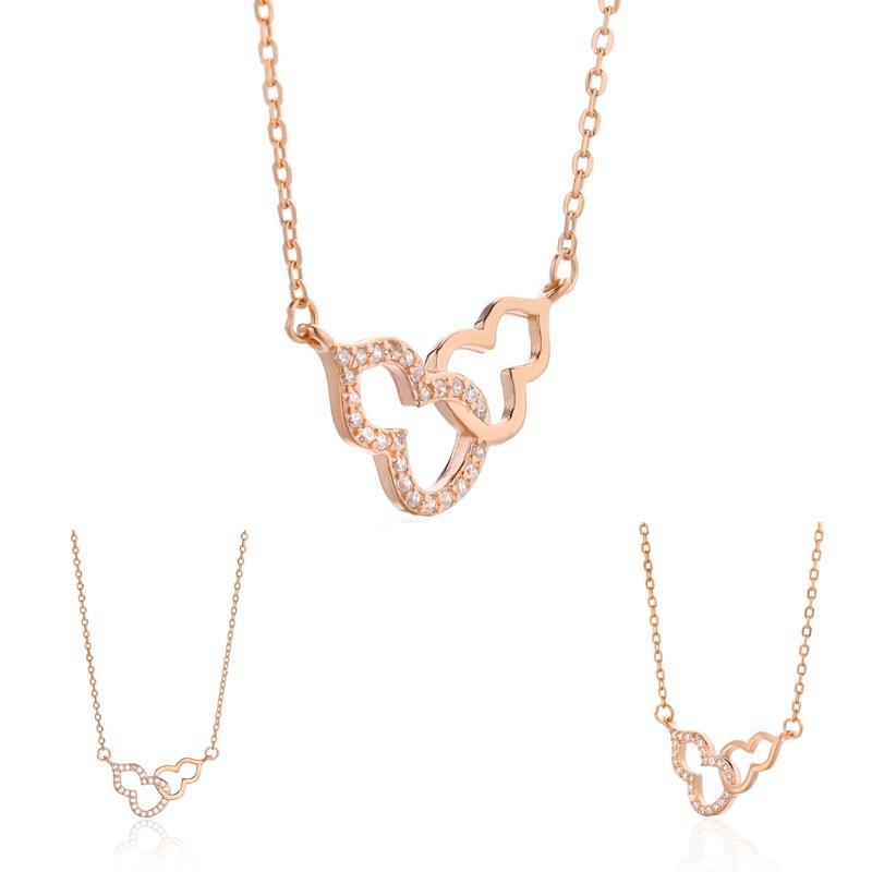 2020 Neue Damenkette Halskette mit kleinen Kürbis Double Gourd Charm Anhänger Halskette Damen Modeschmuck Geschenke