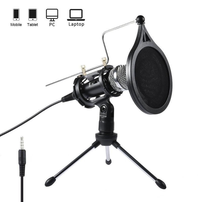 Profesyonel Ev Canlı Kondenser Mikrofon Vokal Kayıt Bilgisayar Telefonu için Mic Standı Kiti