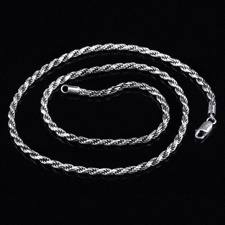 Real Reine 925 Sterlingsilber-Mann-Strickjacke-Halskette Italien Design Verdrehte Geflochtene Kettenweinlese-Mann-Schmucksachen Halsketten-Anhänger tvxZ #
