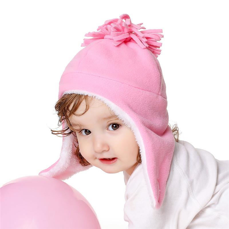 1~3년 세에 대한 50CM 어린이 모자 겨울 따뜻한 어린이 양모 볼 비니의 fashional 아기 폼은 폼은 모자 소년과 소녀 모자