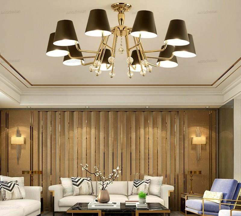 Pós-moderna minimalista Chandelier Sala Lamp Quarto Study Hall Hotel Lobby minimalista Ouro Ferro Atmosfera Chandelier