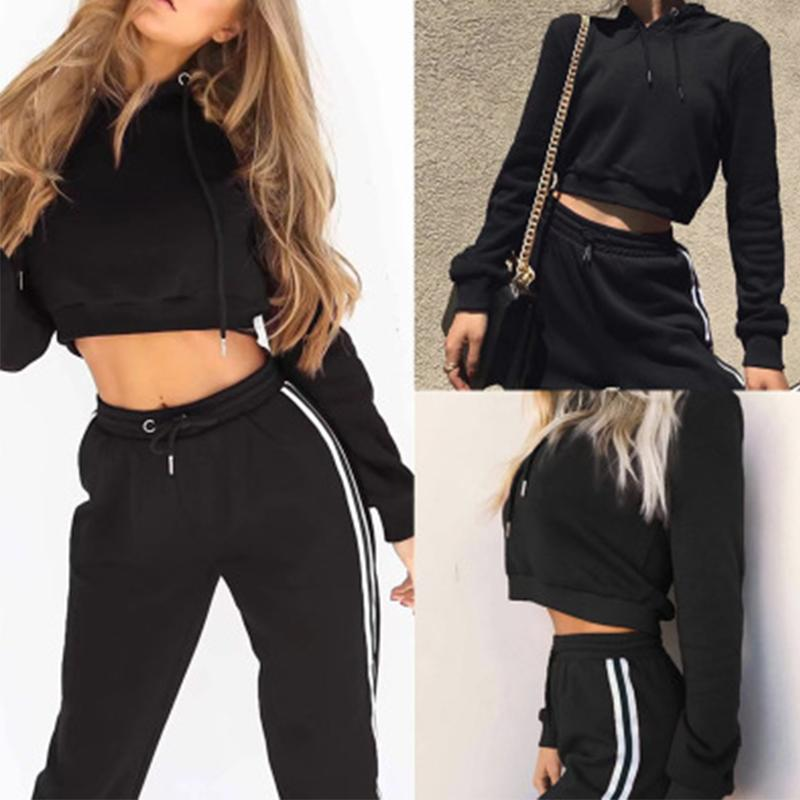 2 pcs Autumn Women's Sports Fitness Suit Set Hooded Winter Tops Running Shirts Gym Workout Jog Training Exercise #07
