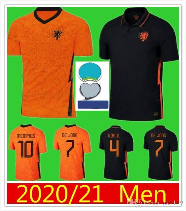 2020 2021 Netherlands Início de Futebol DE JONG Wijnaldum Holanda VIRGIL Longe Camisa 20 21 Strootman MEMPHIS futebol camisa dos homens kit