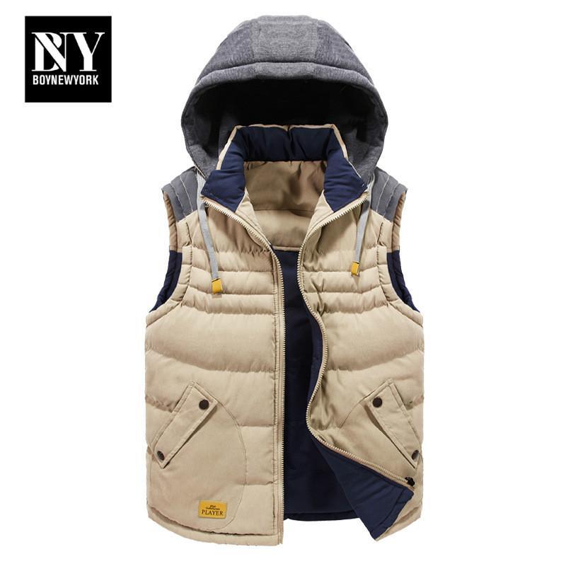 Vest homens espessamento cintura BNY New Mens Jacket mangas veste homme Inverno Moda Casual Coats encapuçado masculino de algodão acolchoado de homens