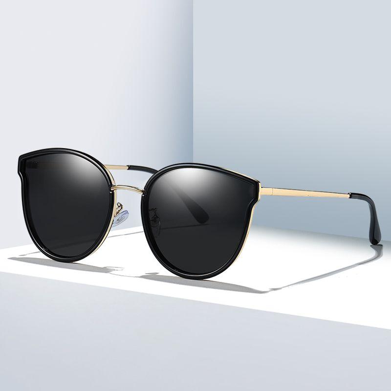 Simvey 2020 Fashion Women Vintage Cat Eye Sunglasses Luxury HD Polarized Round Oversized Sun Glasses UV400 Protection