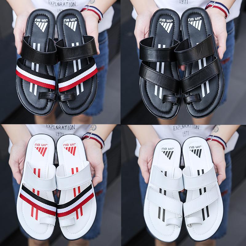 Huaraches de mocassins en cuir appartements de luxe glisse sandales concepteur couleur Striped Chaussons mâle antidérapant Slides plage tongs