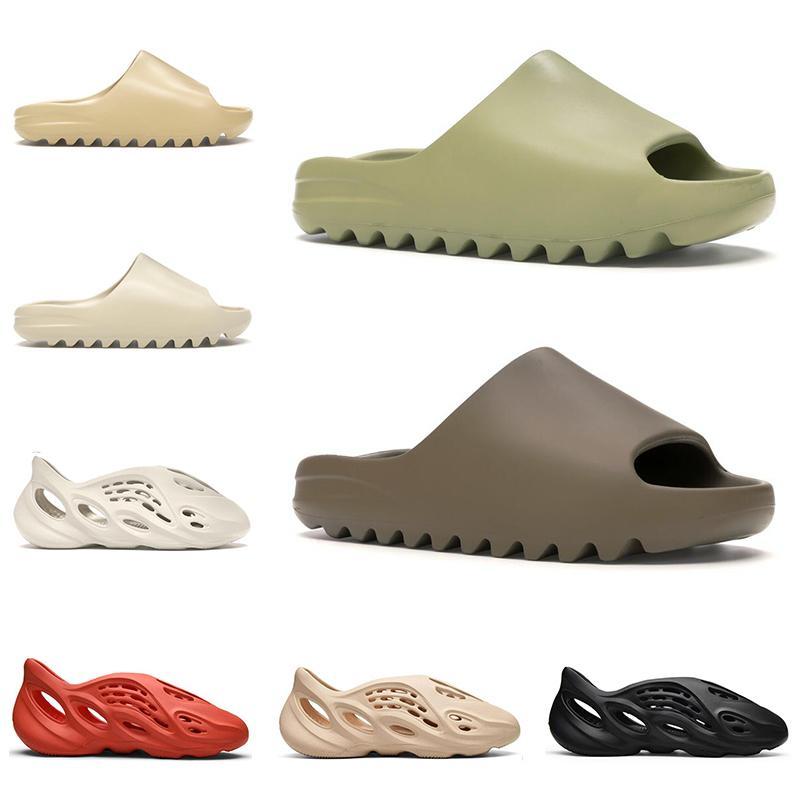 2020 slide kanye west homens mulheres chinelos de grife osso deserto areia resina triplo preto terra marrom moda slides mens sandálias de hotel de praia