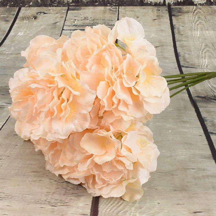 7 têtes artificielles hortensia Fleurs Accueil fête de mariage anniversaire Saint-Valentin décoration florale bricolage mariée Garland bébé Couronne p9wG #