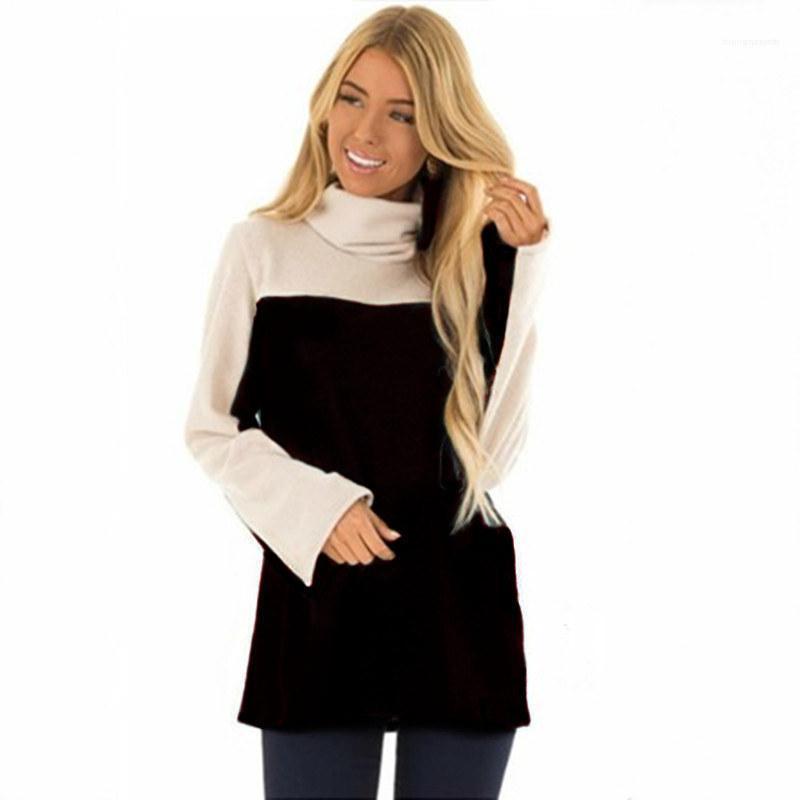 Kadın Dikiş Kontrast Renk Tişört Casual Gevşek Turtleneck Büyük Beden Uzun kollu Tişört Dişi Tasarımcı Tees