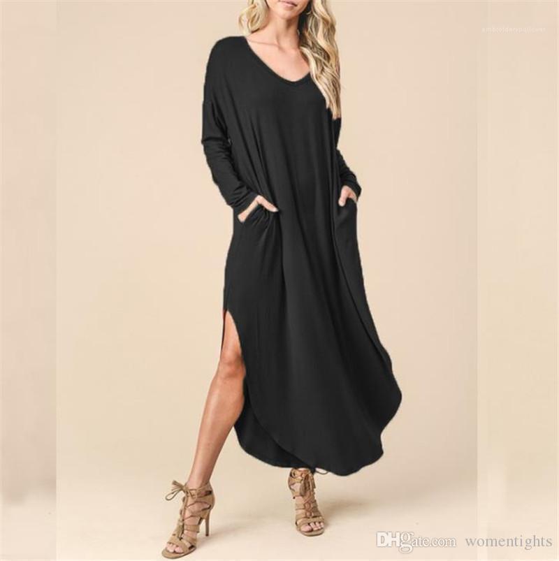 Giyim Uzun kollu Katı Renk Uzun Tişört İlkbahar Kadınlar Yaz V-Yaka Seksi Cep Elbise Tasarımcı Gevşek Causual