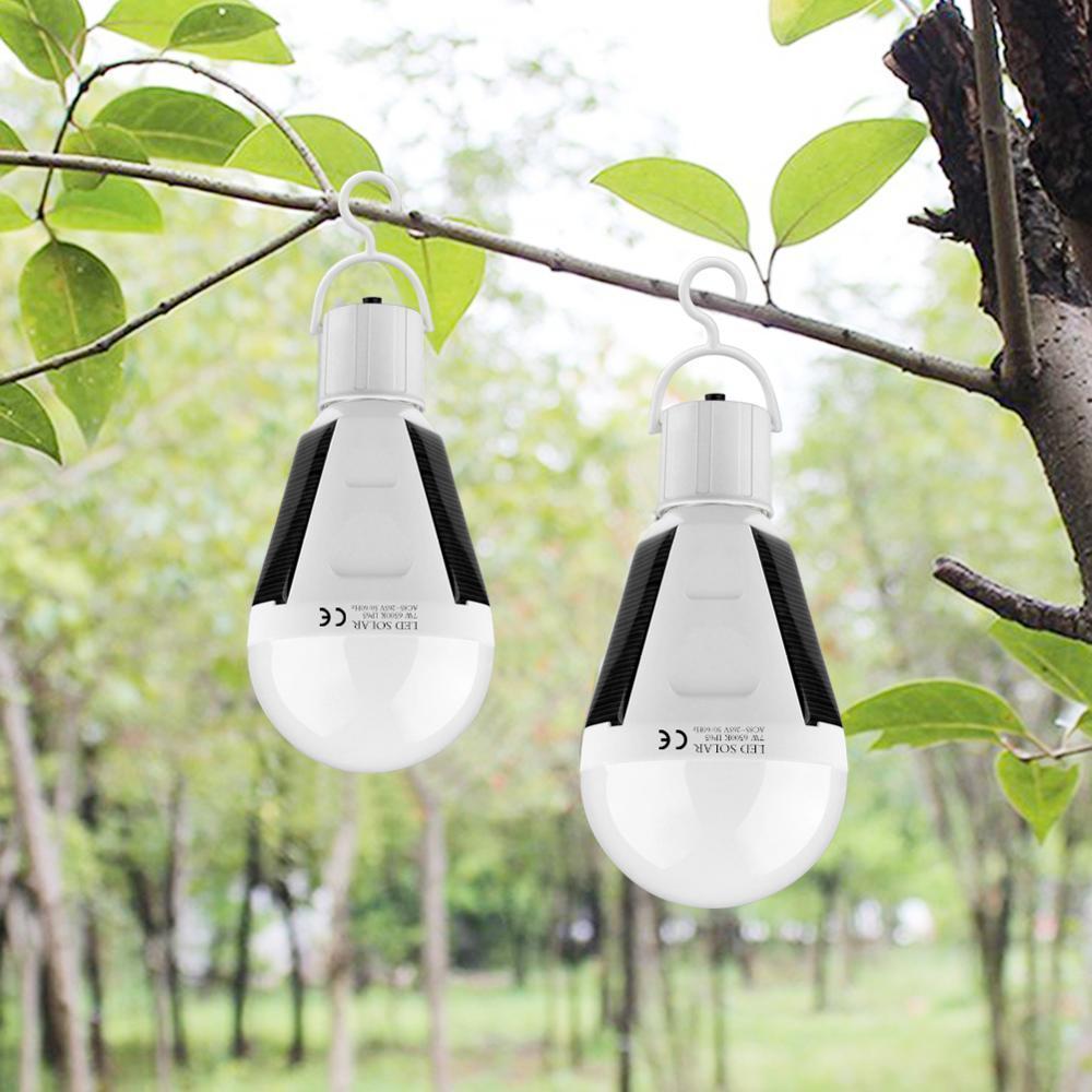 Chargeur solaire Portable Lanterne LED Ampoule E27 Lampe solaire de secours rechargeable étanche Tente de camping en plein air Lampe de poche légère