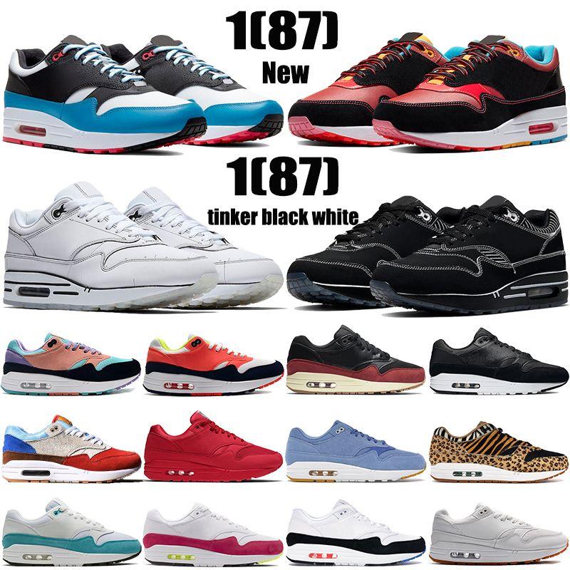 1 87 erkek koşu ayakkabıları zaman kapsülü paketi Chinatown New York tinker siyah beyaz sakız bir gün var erkek kadın moda spor ayakkabı