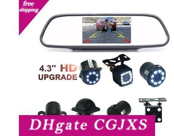 4 .3 Inch Car Rearview Mirror Monitor Auto Parking Vedio +Led Night Vision Backup Reverse Camera Ccd Car Rear View Camera