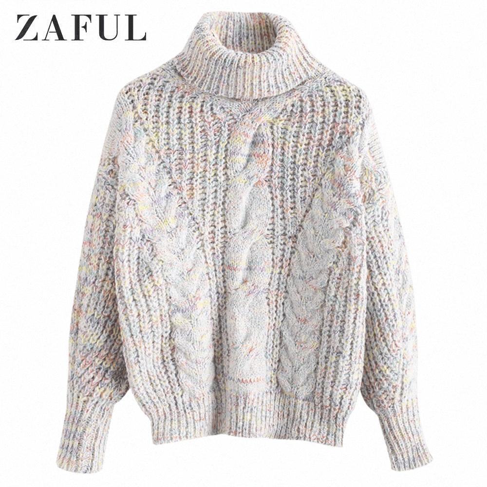ZAFUL erica del collo di cilindro cavo Knit Pullover dolcevita maniche collare goccia completa di spalla delle donne Maglioni Autunno Inverno k8i8 #