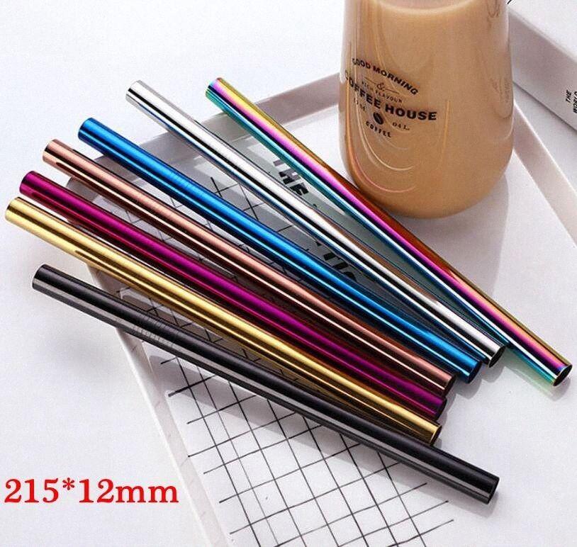 215 * 12 mm del metal del acero inoxidable de paja colorido de bebida reutilizables rectas dobladas grandes pajas para el jugo Taza pajas OOA8029 MYAJ #