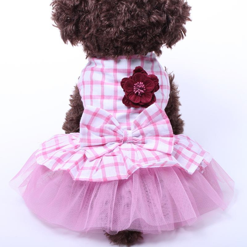 Pet Dog Princess Dress Tutu Flower&Bow Dresses Cat Puppy Shirt Skirt Spring/Summer Clothes Apparel 3 colours