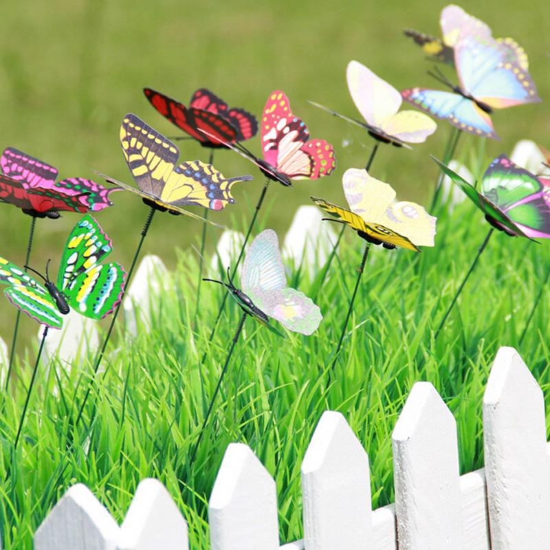 Bunch of Butterflies Garden Decoration Yard Planter Colorful Whimsical Butterfly Stakes Outdoor Decor Flower Pots Decoration DIY Lawn Crafts