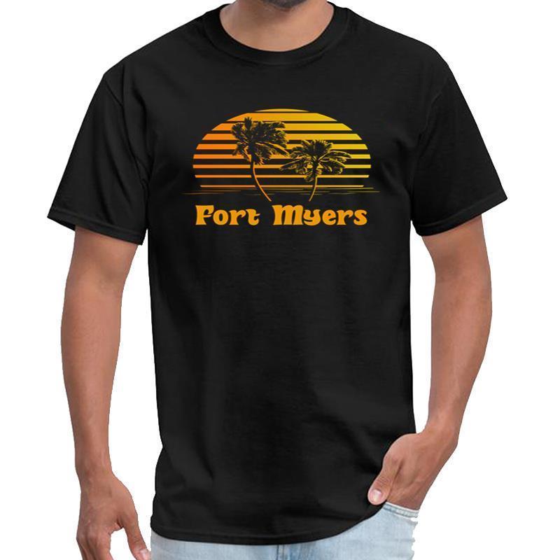 Impresso Fort Myers Florida por do sol Palmeiras camisa de t T-shirt-homens dos homens de rock mais tamanhos s-5XL tee topos