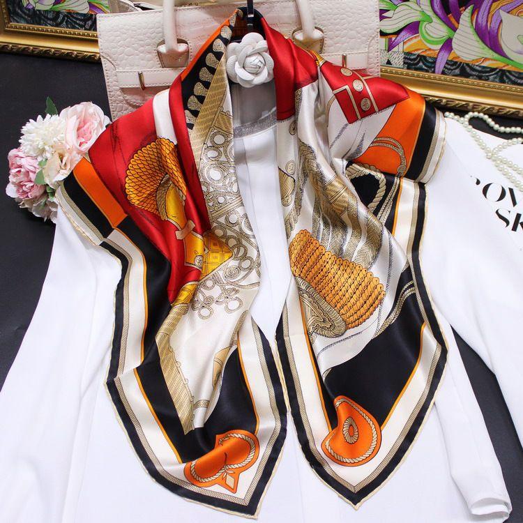 Nuevo lote de la calle del viento Knight de vestir bufanda de seda de verano de mujeres de 90 cm raso Foulard de seda bufanda de seda