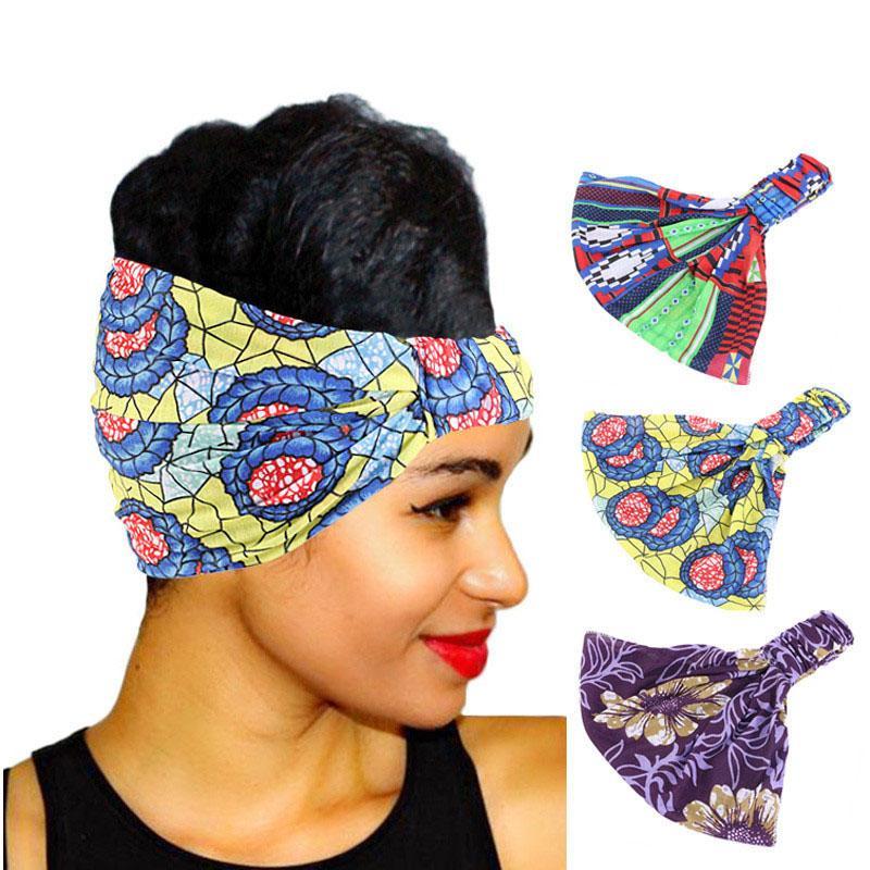 Stampa africano in cotone elasticizzato con fascia elastica per le donne Headwear della testa del turbante delle signore della sciarpa benda dell'involucro della testa accessori per capelli