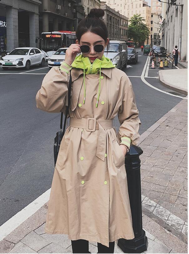 Manga del estilo coreano larga suelta Mujer con capucha larga chaqueta de las mujeres de gran tamaño retro del foso de la capa Frock rompevientos