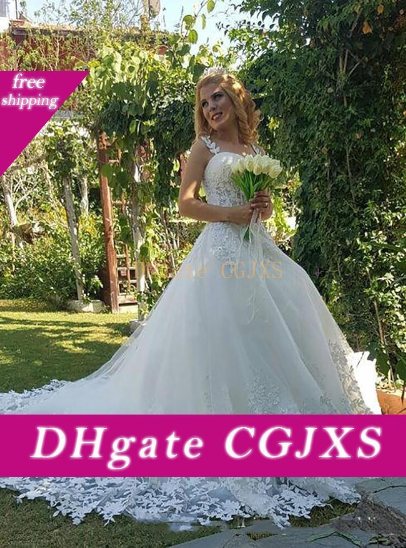 Sexy 2020 Robe De Soiree Lace Wedding Dress Querida Bola de vestidos de noiva vestido com apliques de renda Sweep Trem de Alta Qualidade Vestidos de casamento