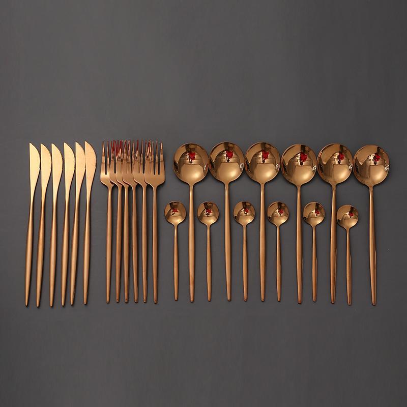 Tablewellware Rose Gold Besteck Besteck Edelstahlbesteck für Hochzeiten 24 PC-Gabel-Löffel-Messer-Set Geschirr Set New T200430
