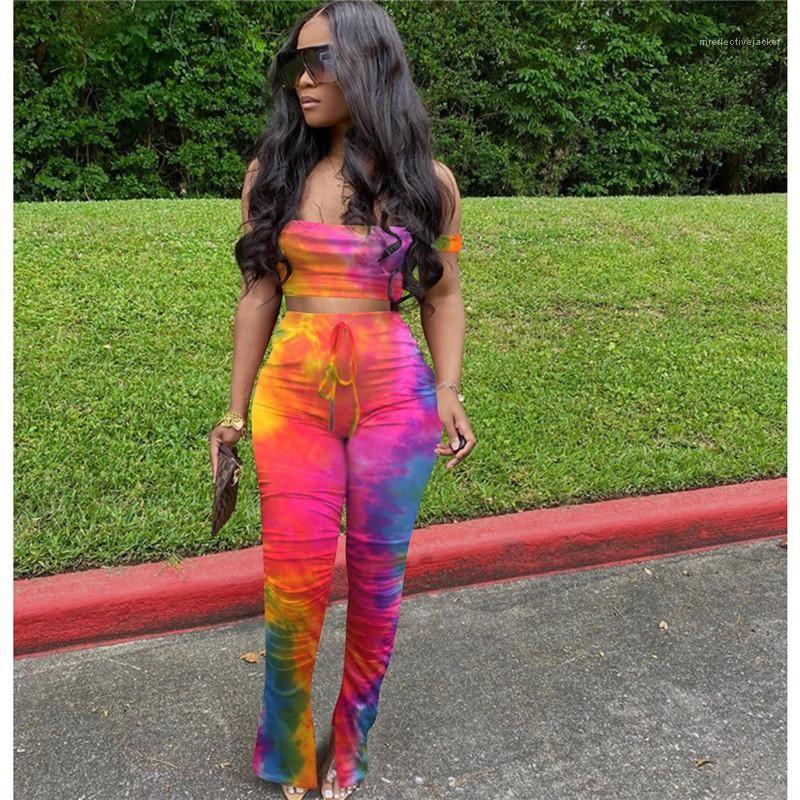 Moletom Terno Two Piece Set Designer Feminino Desporto Matching Outfit Mulheres Tie Dye Impressão Define Verão Strapless Top Curto alargamento Dividir Jogger