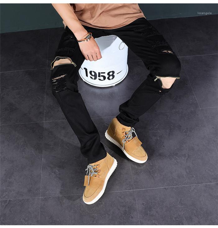 Брюки Мужского Колена Zipper Stretch Слаксы Hiphop джинсы Мода Mid Width штаны дизайнер Ripped Тонкий