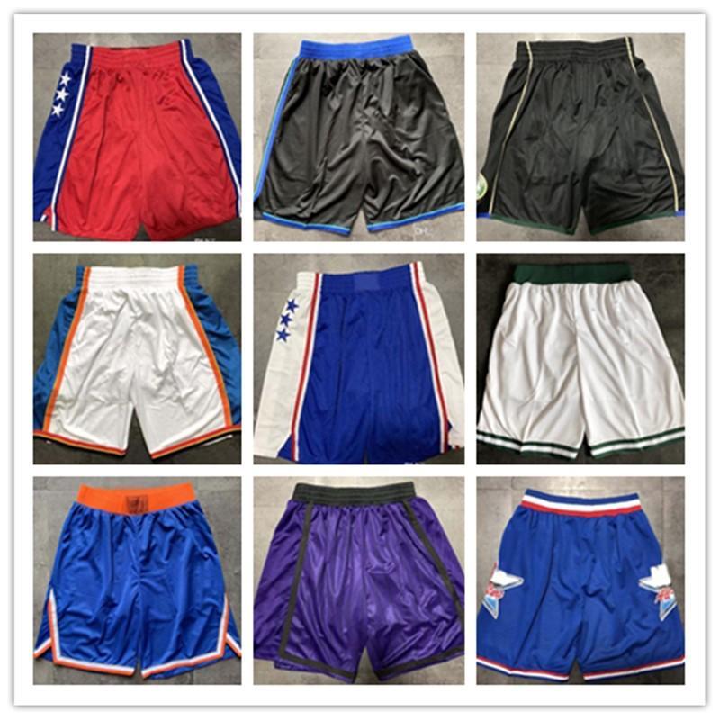 Qualidade máxima ! 2019 time basketball shorts homens shorts esporte shorts calças faculdade branco azul vermelho roxo amarelo preto