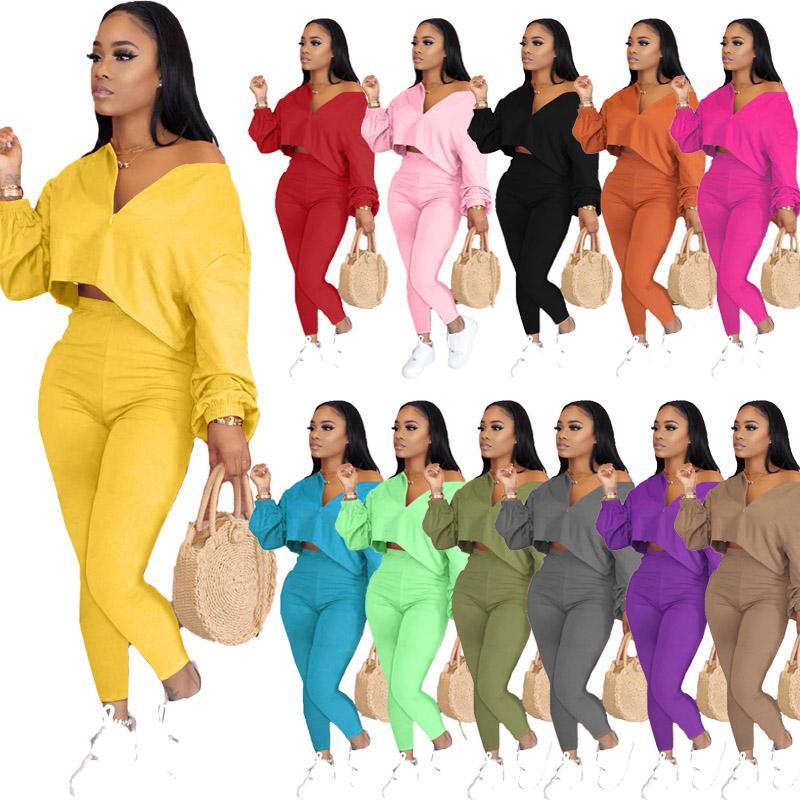 Las mujeres de dos piezas del chándal de color sólido manga del palo del temperamento Traje T ocasional de la camisa apretado pantalón largo Trajes Moda para mujer Sportwear Ocio